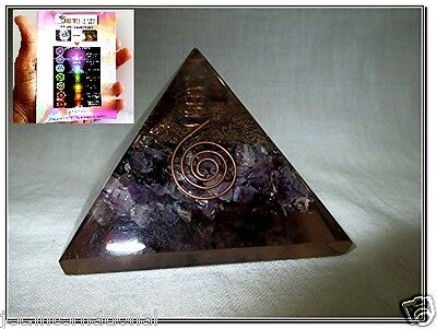 Top Quality Exquisite A++ Amethyst Orgone Pyramid Free Booklet Jet International