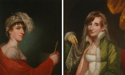 """Gilbert Stuart-Circle """"Two Extremely Rare Portraits of a Transgender Man"""", Oil"""