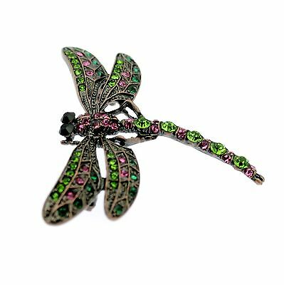 Dragonfly Brooch Green Pink Crystal Vintage Art Deco Style Insect Bug Pin Brooch