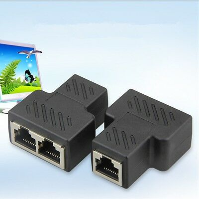 RJ45 Splitter Adapter 1 to 2 Dual Female Port LAN Network Connector AU