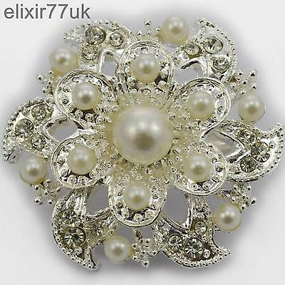 LARGE ARGENT BROCHE FLEUR FAUSSES PERLES DIAMANTE CRISTAL FAUX-DIAMANT BROCHE