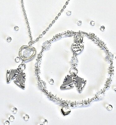 Handmade Jewellery :silver & Crystal Ice Skating Charm Bracelet & Necklace Gift