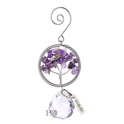 Tree of Life Handmade Purple Stone Crystal Prism Ball Hanging Suncatcher Gifts