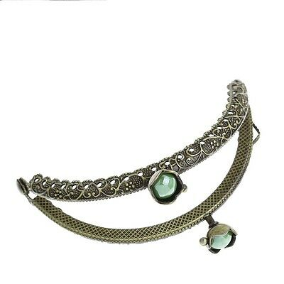1 Metal Frame Kiss Clasp Arch For Purse Bag Bronze Green AB Color Resin Ball @5