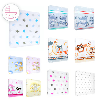 Nursery Baby Cotton Fitted Sheet 90x40 cm Crib Matching Bedding Pattern/ Design