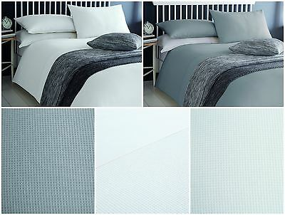 100% Cotton Waffle Effect Duvet / Quilt Cover Bedding Bed Sets - White Or Grey