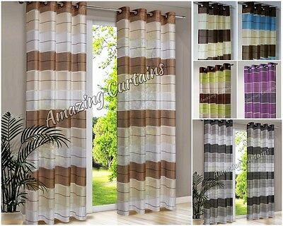 PAIR READY MADE STRIPED CURTAINS EYELET TOP RING VOILE NET CURTAIN Black Grey