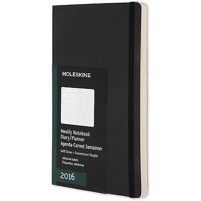 2016 Moleskine Weekly Notebook Diary Planner Agenda Soft Cover Black Large 13x21