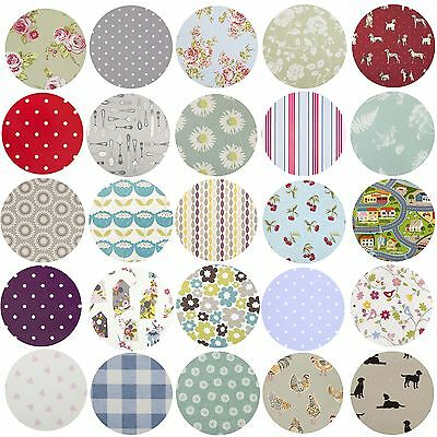 Clarke & Clarke Round PVC Fabric WIPE CLEAN OILCLOTH Tablecloth 100cm to 130cm