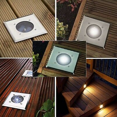 Bright White Led Solar Powered Garden Decking Deck Lights Pathway Patio Easy Fit