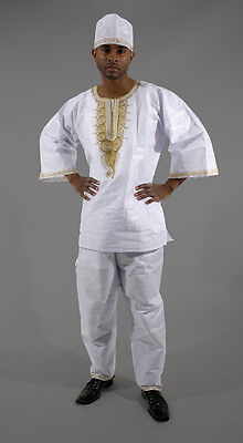 GOLD Embroidered Pant Set: White:African men cloths fashion New