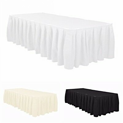 14, 17, 21ft Polyester Top Table Skirt Pleated White Ivory Black Wedding Party