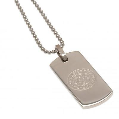 Leicester City Fc Stainless Steel Narrow Dog Tag & Chain In Presentation Box