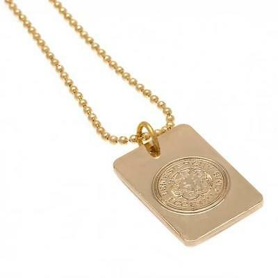 Leicester City Fc Gold Plated Dog Tag & Chain In Presentation Box