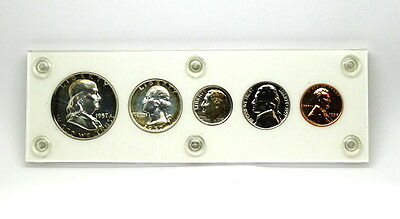 Beautifully Tarnished 1957 UNC United States SILVER PROOF SET US Half to Penny