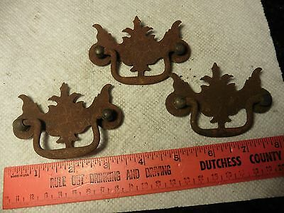 3 Vintage door dresser Drawer Handles Pulls metal antique furniture hardware