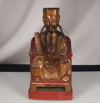 Antique Chinese Carved Wood Scholar Figure