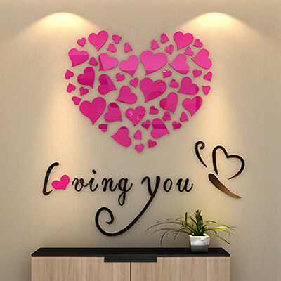 Love Heart DIY 3D Mirror Acrylic Wall Stickers Decal Home Vinyl Decor Removable