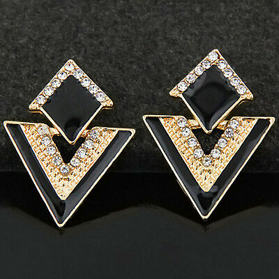1 Pair Triangle Crystal Stud Earring Fashion Women Gold Plated Earrings Jewelry