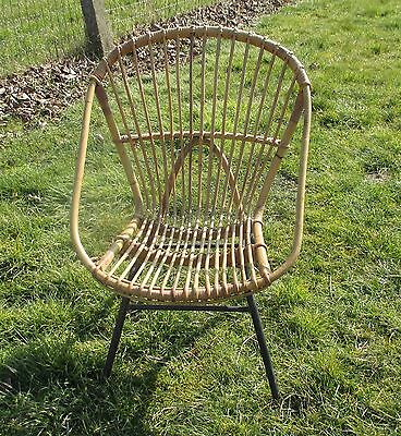 Mid Century Modern  Rattan Round Hoop Chair Wicker Authentic Child era Rohé