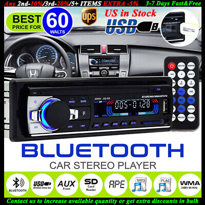12V Handsfree Car Stereo Radio Bluetooth FM In Dash 1 DIN SD/USB AUX Head Unit