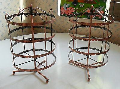 4-Tier Jewelry CAROUSEL Earrings Necklaces Rotating Display Holder Copper Bronze