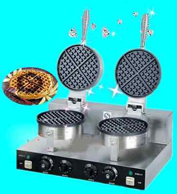Commercial Twin Electric Waffle Maker Machine non Stick 10 Amp power