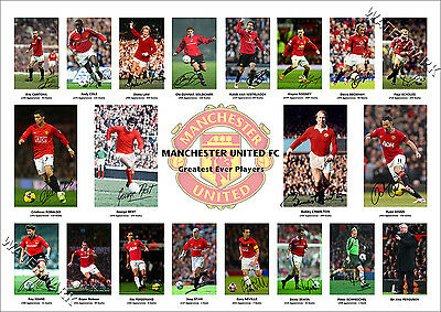 Manchester United Signed Photo Poster Print Squad Man Utd Rooney Ronaldo Best