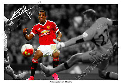 Anthony Martial Signed Photo Poster Print Squad Man Utd Manchester United 2016