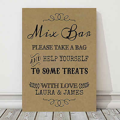 Personalised Mix Bar Candy Sweet Buffet Table Sign Poster BUY 2 GET 1 FREE CH4