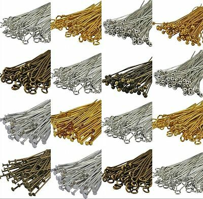 Wholesale Silver Plated Ball Head Eye Pins Jewelry Finding 20/30/40/50/60/70mm