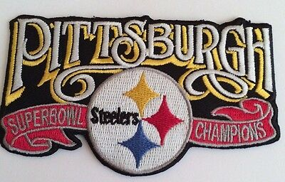 """Pittsburgh Steelers Vintage Embroidered Iron On Patch Super Bowl NFL 4"""" x 2.5"""