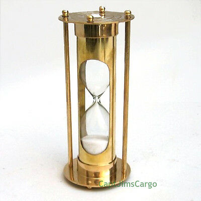 "Nautical Brass Hourglass 6.75"" Marine Sandglass 5 Minute Sand Timer New"