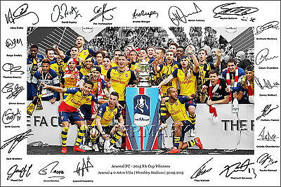 Arsenal Signed Photo Poster Print Squad Team Fa Cup Sanchez Ramsey Wilshere 2015