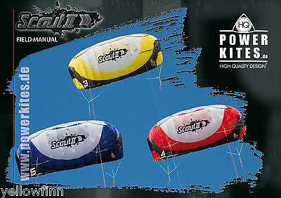 HQ Scout lll MK3 Power Kite Ready To Fly 3 Line Kiteboarding Snowboarding 3/4/5m