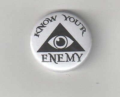 KNOW YOUR ENEMY Nr.1 BUTTON ANTI NWO/BILDERBERGER/ILLUMINATI/NEW WORLD ORDER