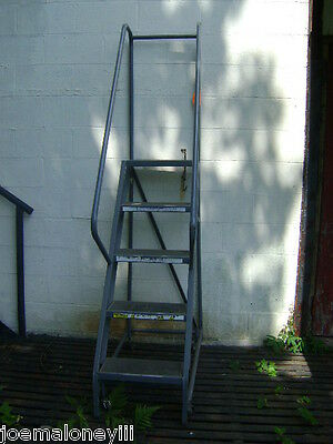 Five Step Gray Industrial  Step  Rolling Ladder