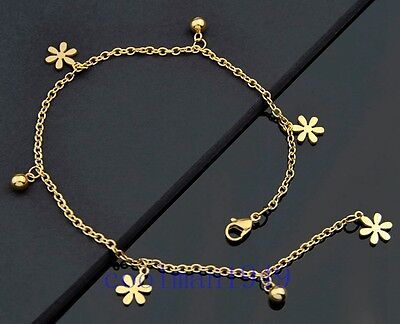 Fashion gold plate Flowers Pendants Stainless Steel Anklet Bracelet JL11