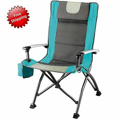 Outdoor High Back Chair with Headrest Comfortable Tailgating Camping Seat Blue