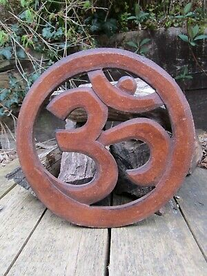 Hand Made Carved Om Aum Hindu Buddha Wall Art Sign Symbol Hanging Plaque Carving