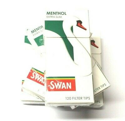 10 x SWAN MENTHOL EXTRA SLIM FILTER TIPS 5mm PRE-CUT CIGARETTE TOBACCO 1200 Tips