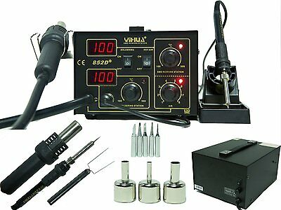 2in1 Soldering Station Rework Hot Air & Iron 852D+ 5 Tips SMD Built To Last!