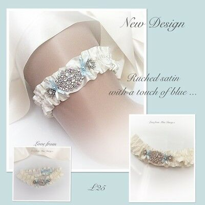 Garter Ivory Blue Pearl Love Miss Darcy Personalised Wedding Brides Bridal Hen