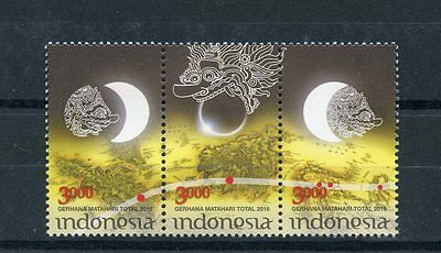Indonesia 2016 MNH Total Solar Eclipse 3v Se-tenant Set Stamps