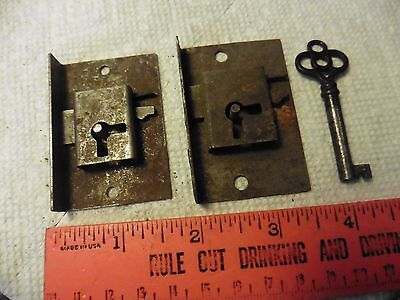 2 Vintage door locks dead bolt lock latch metal antique hardware 1 skeleton key