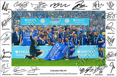Leicester City Signed Print Poster Photo Squad 2015 2016 Vardy Mahrez Ranieri