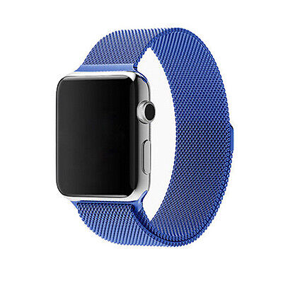 Blue Stainless Steel Magnetic Loop Watch Strap Bands Watchband For Iwatch 38mm