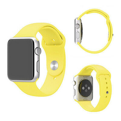Yellow Silicone Rubber Sport Watch Band Replacement Strap For Iwatch 42mm