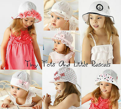 Baby Girls Toddlers Summer Holiday Beach Hat Bridesmaid Occasion Size 0- 4 years