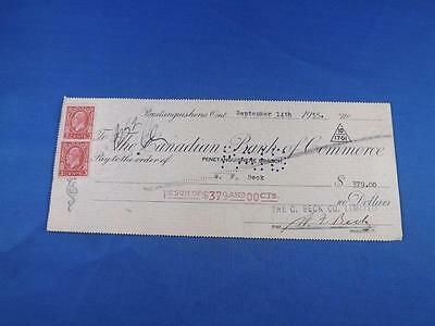 Canadian Bank Of Commercecheque Check Pentanguishene Branch 1935 C. Beck Co.